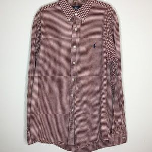 POLO RALPH LAUREN DRESS SHIRT Red White Checkers L